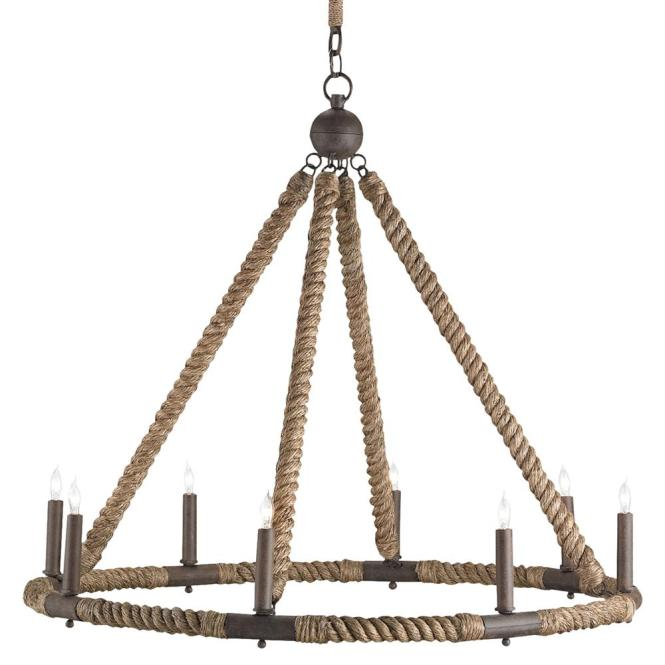 Seafarer Nautical Beach Style Wred Rope 8 Light Chandelier Kathy Kuo Home