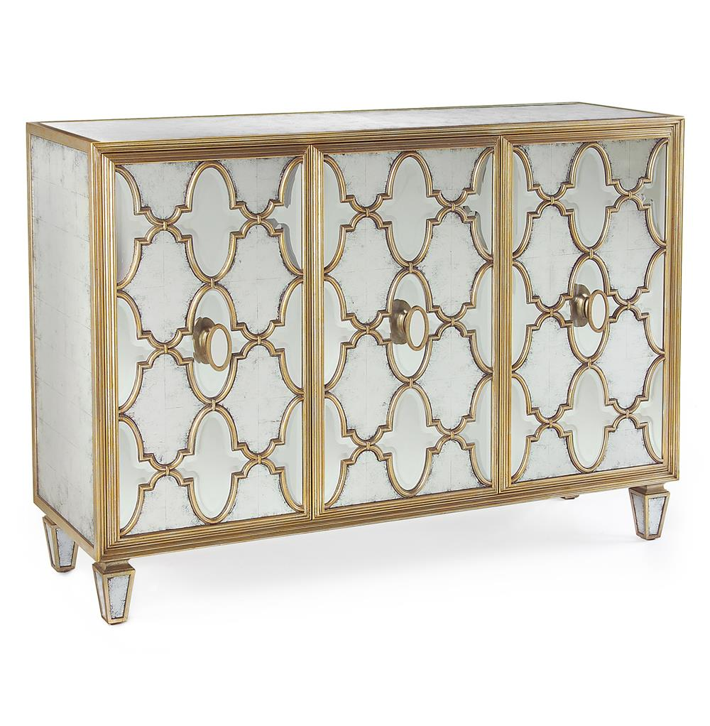 john richard babette hollywood regency silver leaf mirrored gold lattice sideboard kathy kuo home