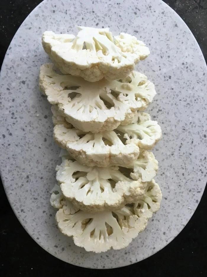 Cut into 1 inch cauliflower steaks
