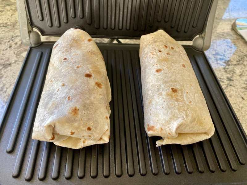 Ultimate burrito on panini maker
