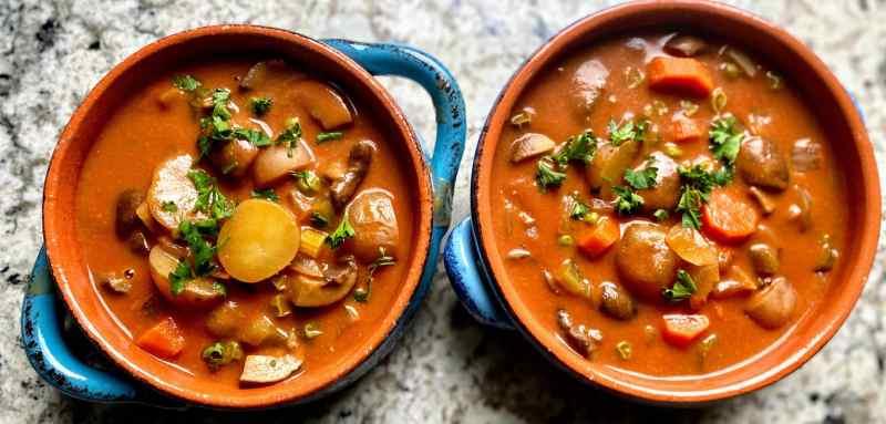 Mushroom stew served