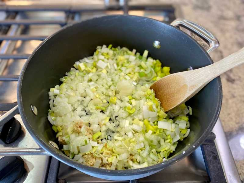 sauteeing onions and leeks