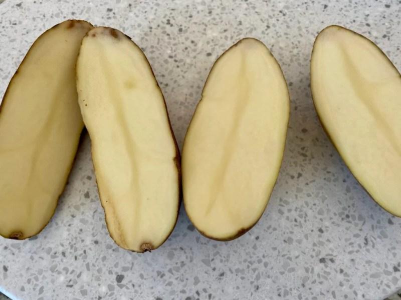 Slice potatoes lengthwise