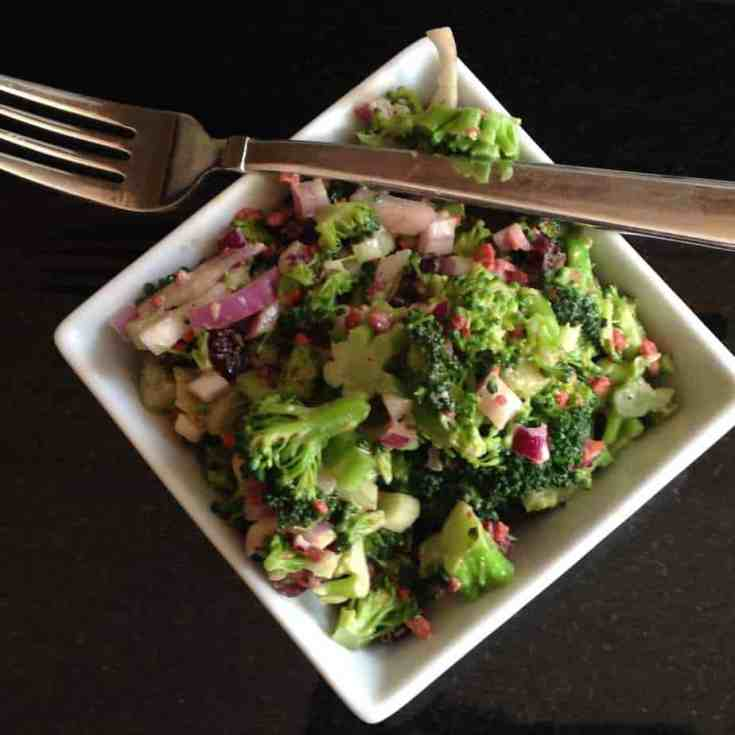 Skinny Broccoli, Cranberry and Coconut Bacon Salad