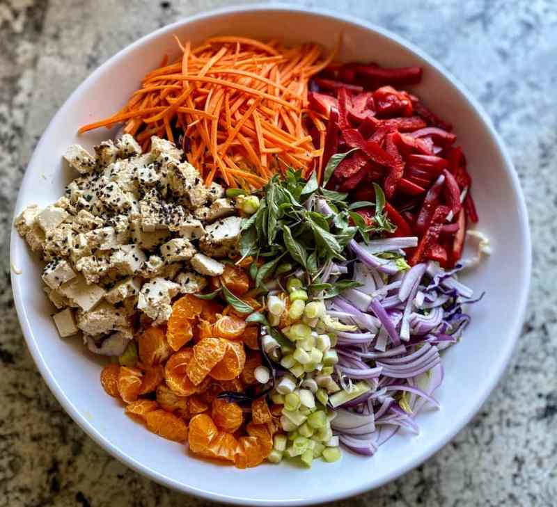 Grilled sesame asian tofu with vegetable slaw