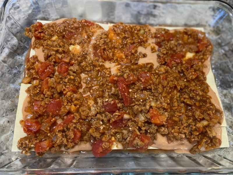 Mexican lasagna layers