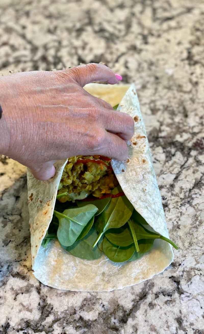 folding the lentil wrapjpg