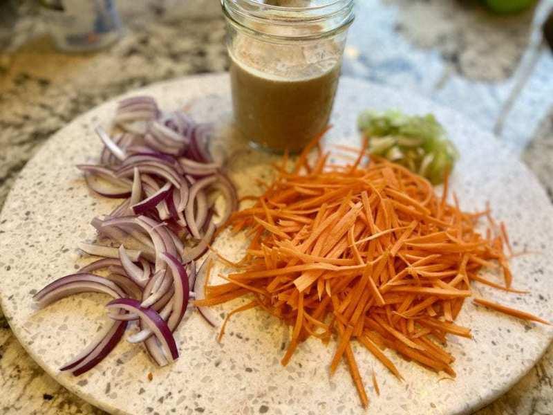 vegan quinoa salad veggies