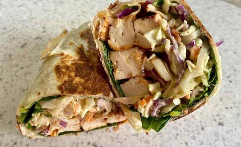 BBQ tofu with vegan coleslaw