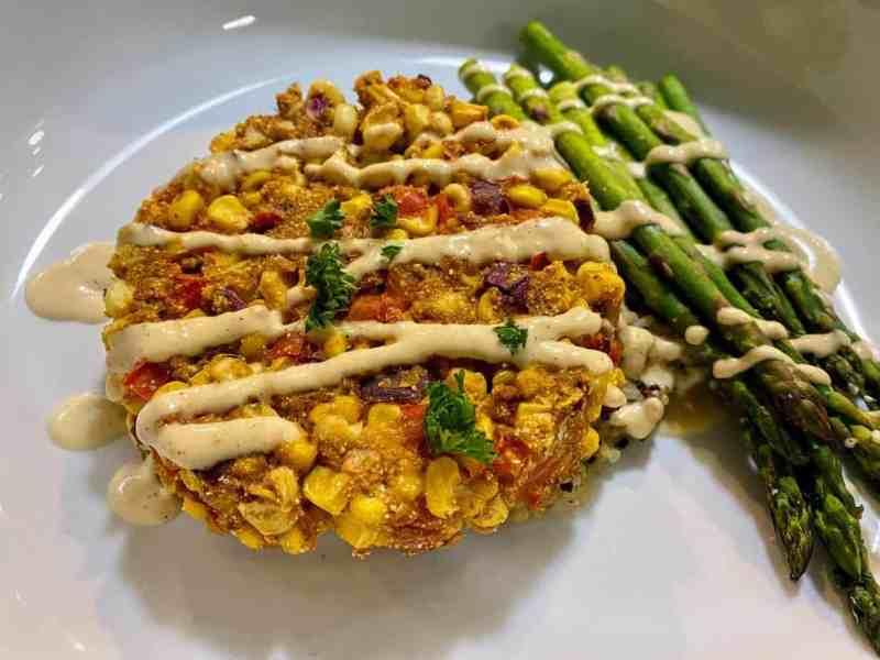 corn fritter served