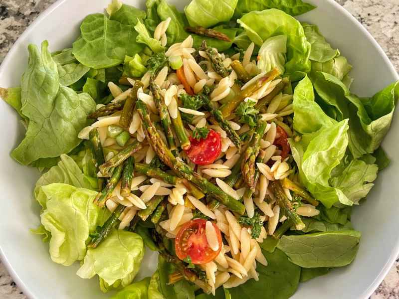 Asparagus salad add live lettuce