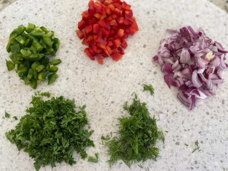 Veggies for veggie twice stuffed potato recipe