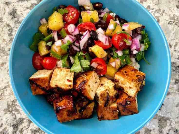 vegan jerk tofu bowl