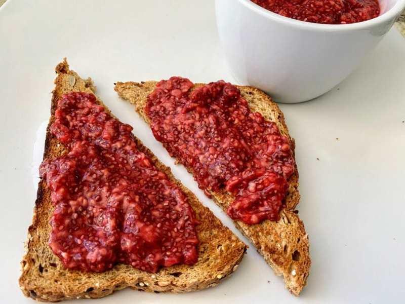 Raspberry chia Jam on toast