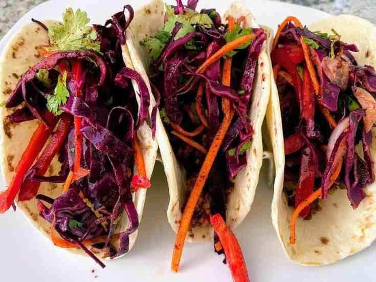 Mexican Cole Slaw on Walnut Tacos