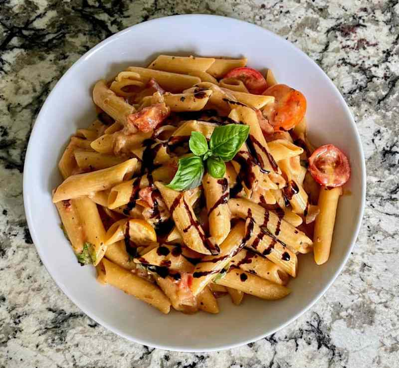 bruschetta pasta served