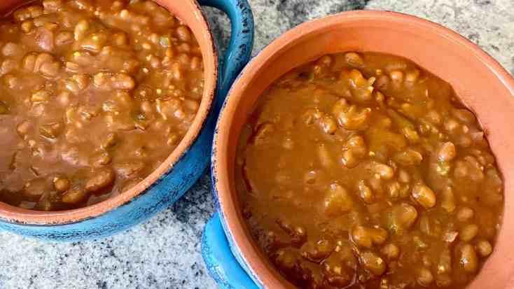 vegan baked beans close up
