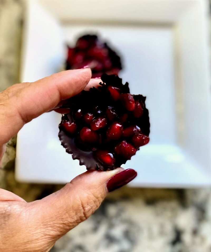 Bite sized pomegrante chocolates