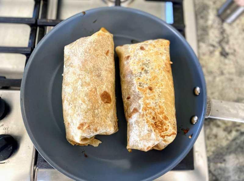 cooking the bbq seitan burrito
