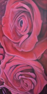 """Wedding Roses"" 24"" x 48"" Oil on Canvas: $1,200.00 Black Box Frame included"