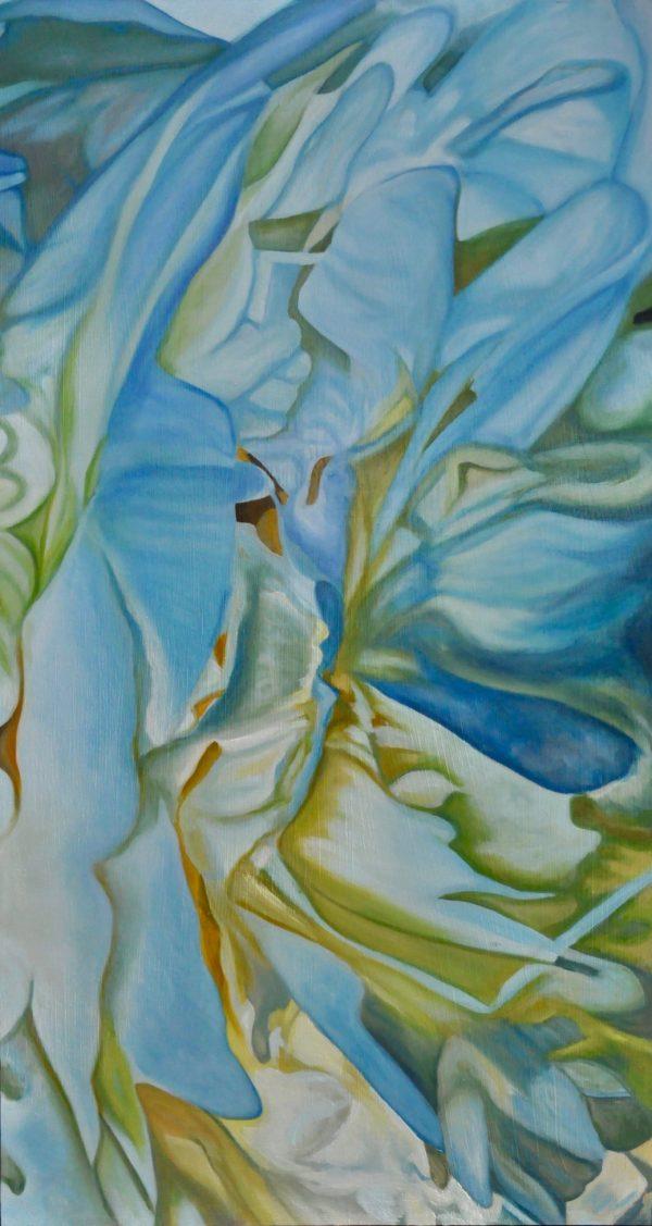 Peonies #8, blue, flowing, Green, White