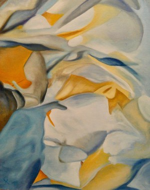 Peonies # 11, Gold, Blue, White, Orange
