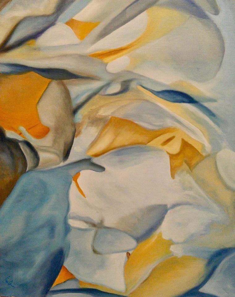 Peonies # 11, Gold, Blue, White, Orange