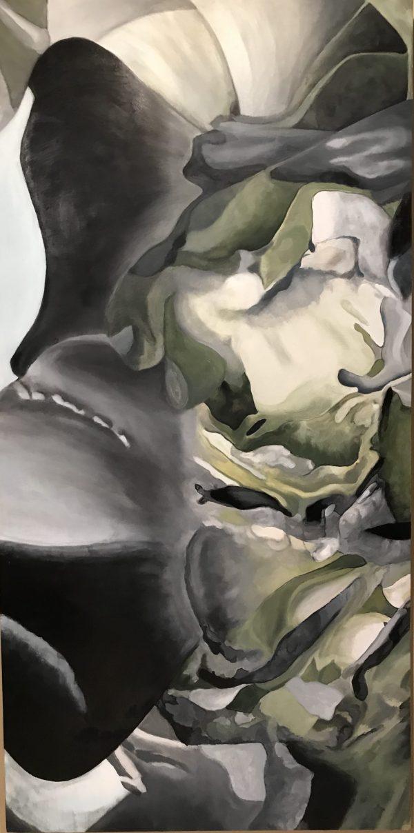 Peonies #17, Black, Green, Swirling