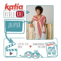 Knit a colourful Dragon's Tail Shawl using only 2 balls of Katia Jaipur.  Join the Katia Spring Special VideoKAL!