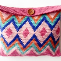 Learn Tapestry Crochet: video and easy pattern to make a cosmetic bag in this crochet technique