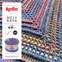 Triangular crochet shawl made from only one ball of Funny Rainbow Star by Mely Raya