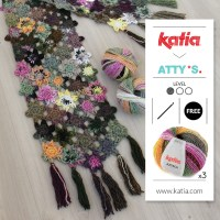 Make this easy Crochet Flowers Shawl by Atty van Norel using only 3 balls of Katia Azteca