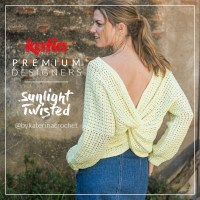Twisted back sweater with lace stitch pattern designed by @bykaterinacrochet for Premium Designers