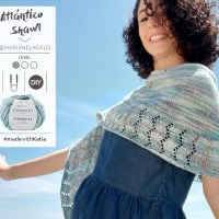 Atlántico shawl video tutorial by Marianela Galo: How to knit a crescent shawl for summer nights