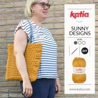 Haz a crochet un bolso cuadrado a punto alto en relieve por delante con el patrón gratuito de Sunny Designs