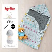 Nuevo patrón de crochet universal: Saquito para bebé diseñado por Knitting Sheep con Katia Bambi