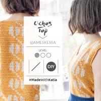 Top a ganchillo Ochos de Ameskeria: Un patrón de tapestry crochet fácil, fresco y muy favorecedor