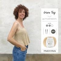 Garo Top de Little Rita: Teje un fresco y ligero crop top evasé con tirantes finos con agujas circulares