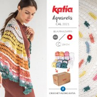 CAL Aquarela: Ya disponible el kit para tejer este chal de media luna con colores inéditos de Katia Capri