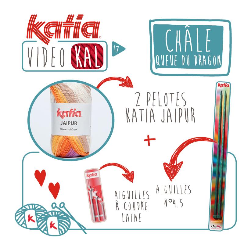 Tricotez un Châle Queue de Dragon avec seulement 2 pelotes de Katia Jaipur, rejoignez le VideoKAL Spécial Printemps!