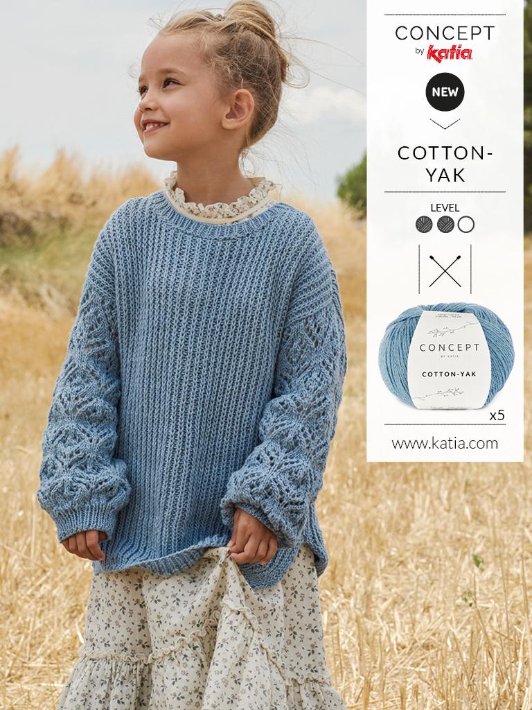 nouveau katia all seasons tricot toute année pull cotton yak