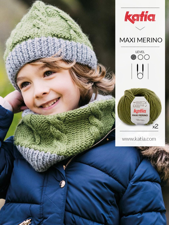tricoter avec des aguilles circulaires snood enfant
