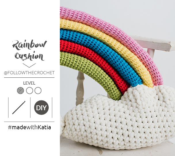 coussin rainbow au crochet patron 2