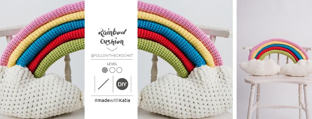 coussin rainbow au crochet slide