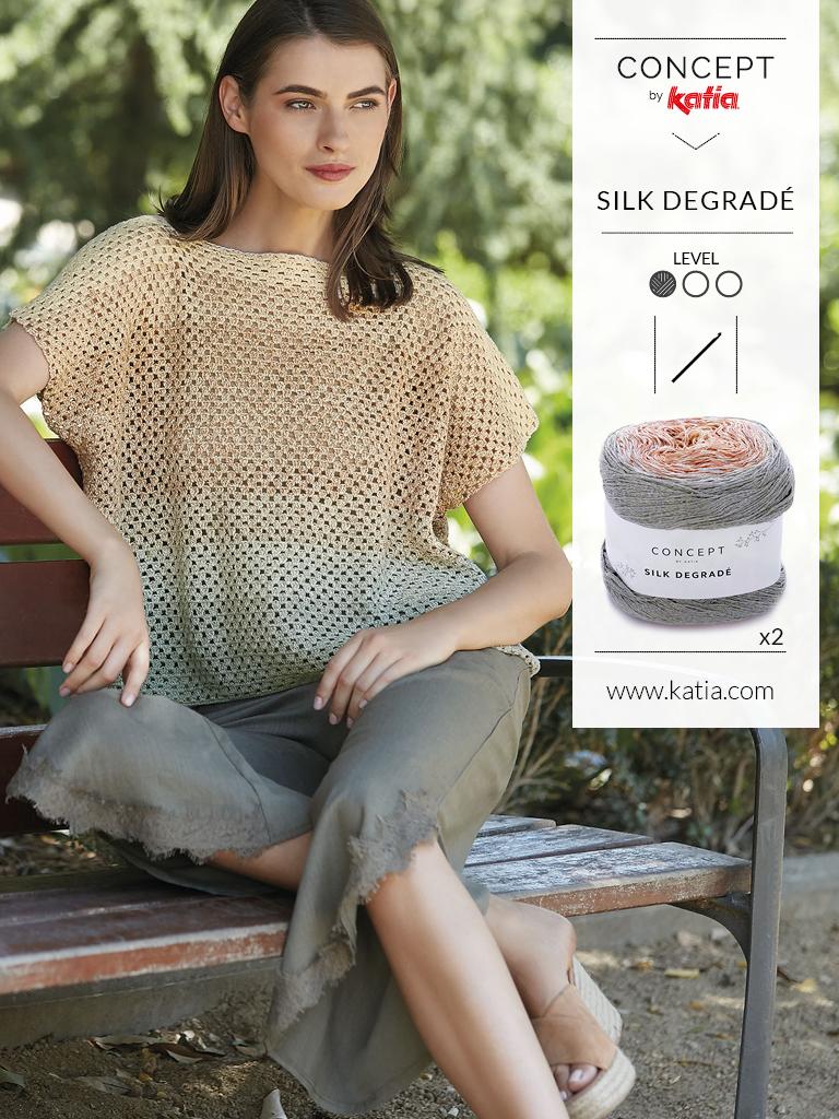 10 tops crochet silk degrade