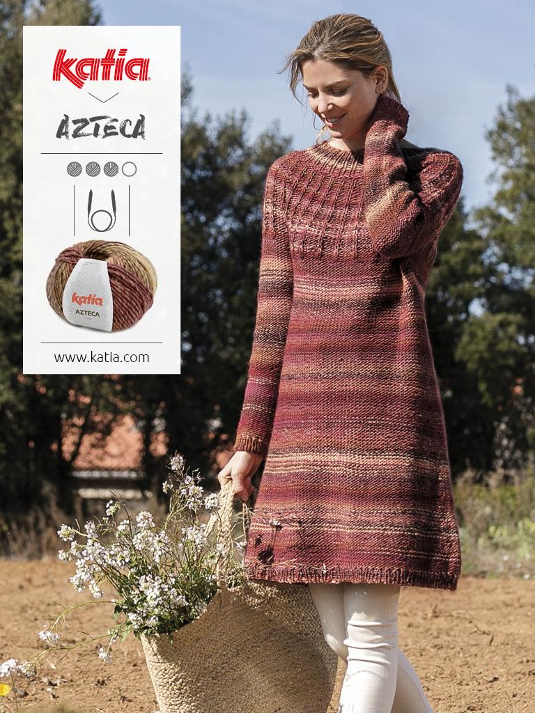 robe femme tricot aiguilles circulaires azteca