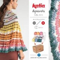Aquarela CAL: bestel nu de kit met nieuwe Katia Capri kleuren om deze prachtige omslagdoek te haken
