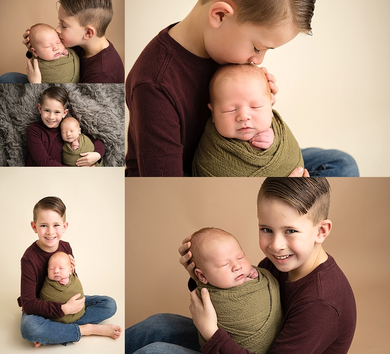 Macomb Newborn Photographer sibling photos.  Big brother with baby brother.