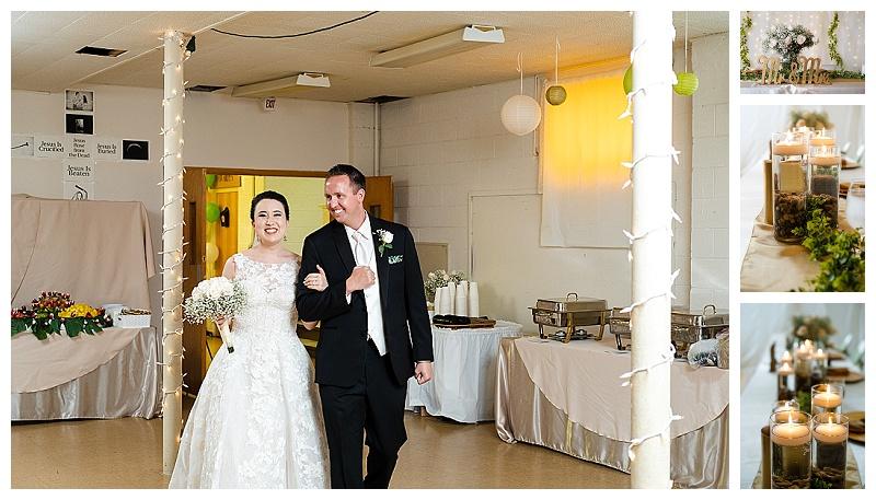 wedding photo couple entering reception