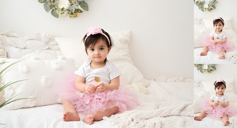 birthday girl on white bedding